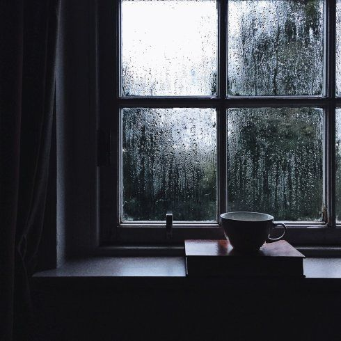 Cup and book on a steamy wintery window ledge
