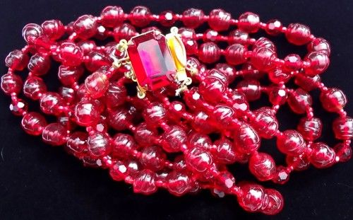 Signed Risa Ruby Red Poured Glass Bead 4 Strand Rhinestone Vintage Necklace | eBay