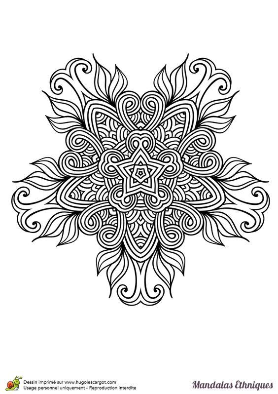 Coloriage mandala ethnique fleur sauvage hugolescargot - Hugo l escargot mandala ...