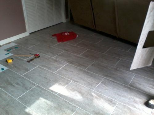 Trafficmaster ceramica 12 in x 24 in concrete vinyl tile for 12 inch vinyl floor tiles