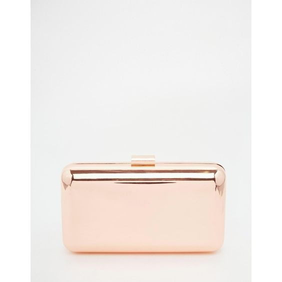 ASOS Box Clutch Bag (€40) ❤ liked on Polyvore featuring bags, handbags, clutches, rosegold, white purse, asos purses, white box clutch, clasp purse and white handbags