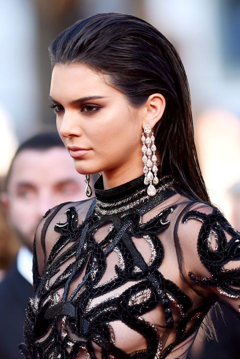 Kendall Jenner pulls off a red carpet fave - the wet, slicked back hair look.
