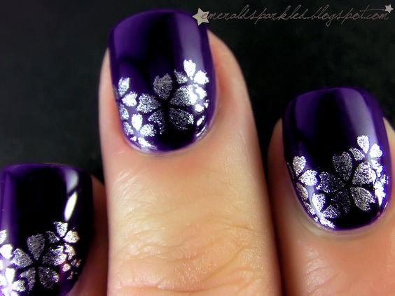 silver flowers on purple