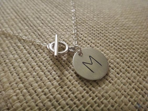 Custom engraved initial charm lariat style necklace, $32.00