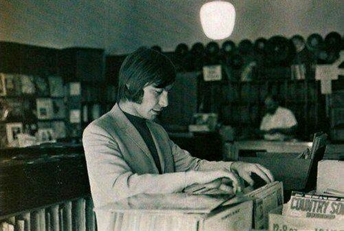 Charlie Watts at record store, USA, 1965.