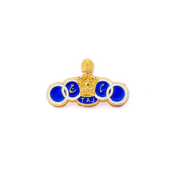 Taj Football Club Pins/Brooches. Secured with a butterfly clutch on the back. Show your passion for your favorite team with this 3D model design with cut edges and effects. This pin was Taj Football Club official logo until 1979 with the Pahlavi dynasty Crown.
