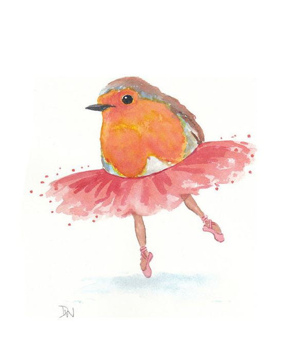 Original Bird Watercolor Painting Ballet Art by WaterInMyPaint, $40.00: