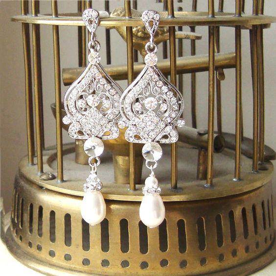 Wedding Jewelry, Bridal Earrings, Chandelier Earrings, Vintage Bridal Jewelry, Etsy.