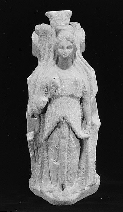 goddess Hecate This statue is also called Hecate Triformis and was stationed in a threeway in the road. Two of the three figures are holding a pomegranate apple and one is holding a torch. It is 27.3 cm high and 10.8cm wide.  Roman, Imperial Period, 1st century AD  Source: Metropolitan Museum: