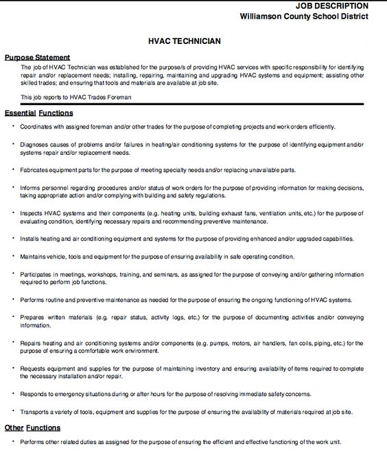 hvac technician job description -    resumesdesign hvac - hvac technician sample resume
