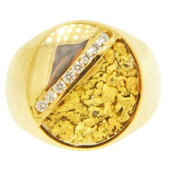 Alaskan Gold Nuggets and Diamonds in White Gold Ring Gold Nugget