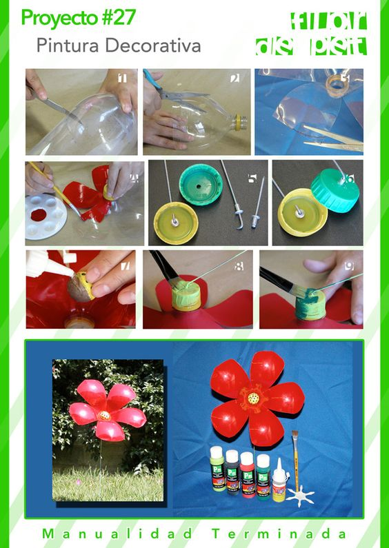 Flor de PET. #pinturadecorativa #jardin #decoracion #manualidades #crafts #diy