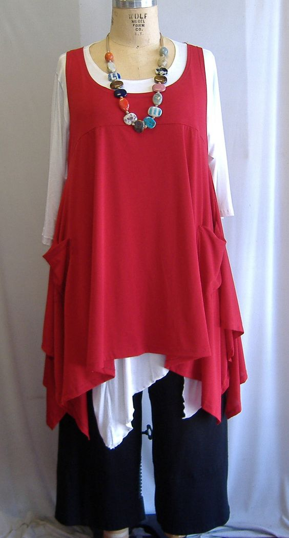 Coco and Juan Plus Size Top Lagenlook Layering Tunic Top Red Traveler Knit Size 1 Fits 1X,2X Bust to 51 inches. $36,00, via Etsy.:
