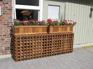 Lattice Screen And Planter Box Photo Credit Www Airlux Ca Air Conditioner Hide Air Conditioner Cover Air Conditioner Cover Outdoor