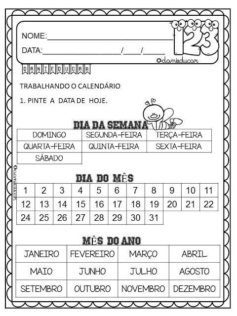 Atividades Do Calendario Atividades Com Calendario Atividades