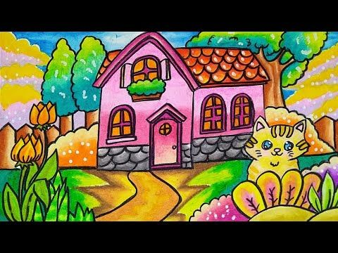How To Draw Easy Scenery Drawing House At Garden Step By Step With Oil Pastel Easy For Beginner Youtube Cara Menggambar Gambar Pastel