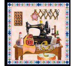 1 Painel - Tecido para Patchwork Sewing Machine Blocks KG20