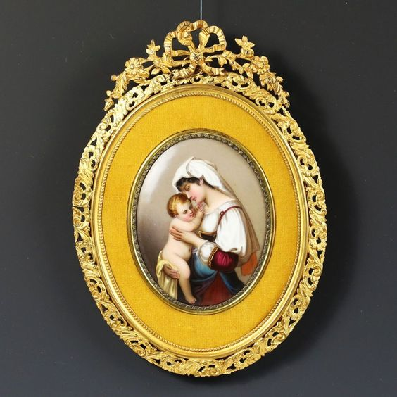 Antique French Enamel on Porcelain Miniature Portrait Plaque gilded Bronze Frame #Realism