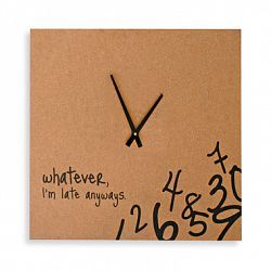 "Clock tells it like it is with a bit of attitude, ""Whatever, I'm late anyways. "" Falling numbers are stacked in the corner, while the black clock hands and text are easy to see. Measures 24"" x 24""...."