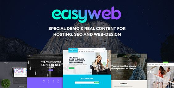 EasyWeb - WP Theme For Hosting, SEO and Web-design Agencies Easyweb is a specialized theme in field of hosting, SEO and web design which is fully practical, included with quite real content and you'll be able to implement your website in couple of minutes. It comes with advanced theme options, live customizer, visual page builder and special host and seo features.