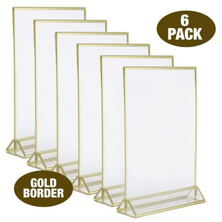 Super Star Quality Clear Acrylic 2 Sided Frames With Gold Borders And Vertical Stan Table Card Holder Wedding Table Number Holders Framed Table Numbers Wedding