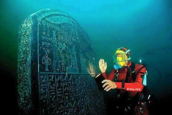 Huge Egyptian monument found underwater.