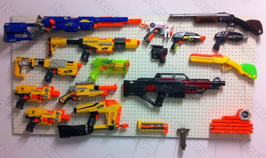 Google Image Result For  Http://propweaponscoop.com/wp Content/uploads/2012/08/prop Weapons Peg Board Wall  Rack Diy Tutorial   Nerf | Pinterest
