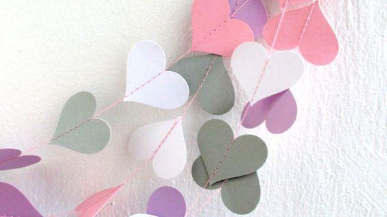 Pink White Gray Lilac Hearts Paper GarlandBaby by HelenKurtidu, €7.00