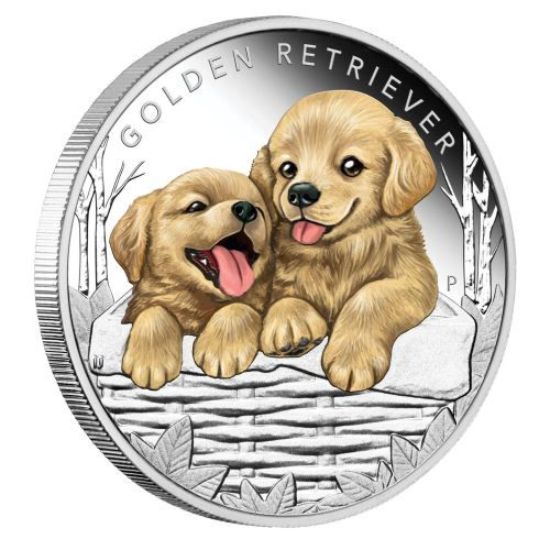 Perth Mint New Release Puppies Golden Retriever 2018 1 2oz Silver Proof Coin Coin Community Forum Golden Retriever Labrador Puppy Labrador Dog