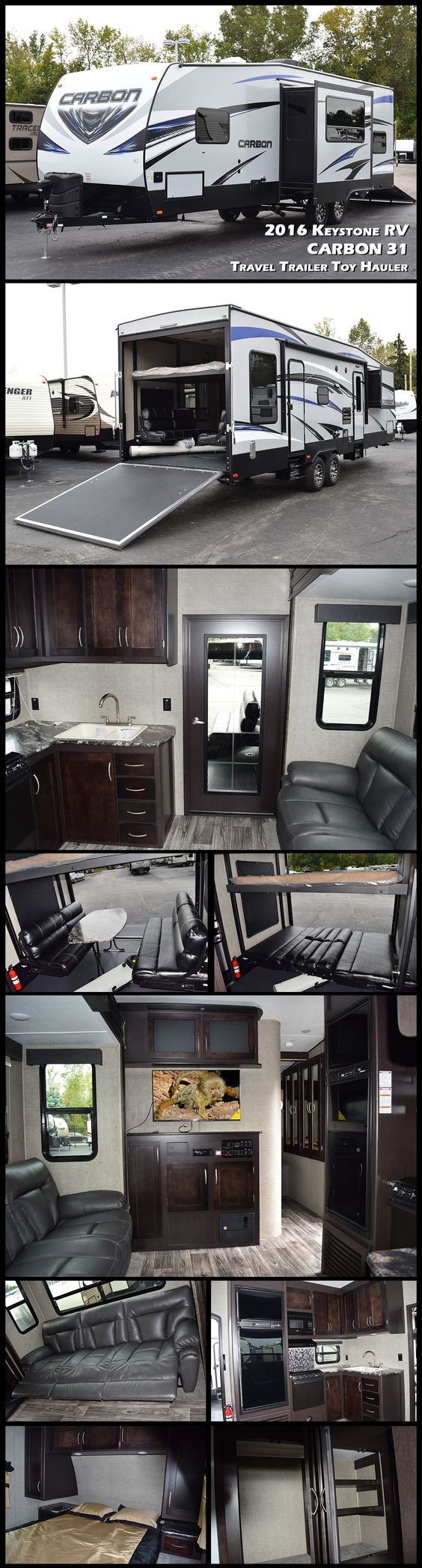 "This 2016 CARBON 31 Travel Trailer Toy Hauler by KEYSTONE RV is ready to take you and your family on a great adventure! As you enter the main side door you will see a spacious combined living and kitchen area with a slide out 97"" reclining sofa with dinette table and a large 72"" window above to enjoy any view. The 10' garage space offers two electric bunks that store up near the ceiling out of the way when not in use. A 30 gallon fuel tank will keep things going all weekend long!"