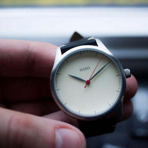 Miró Watches — Creme Face Black Strap