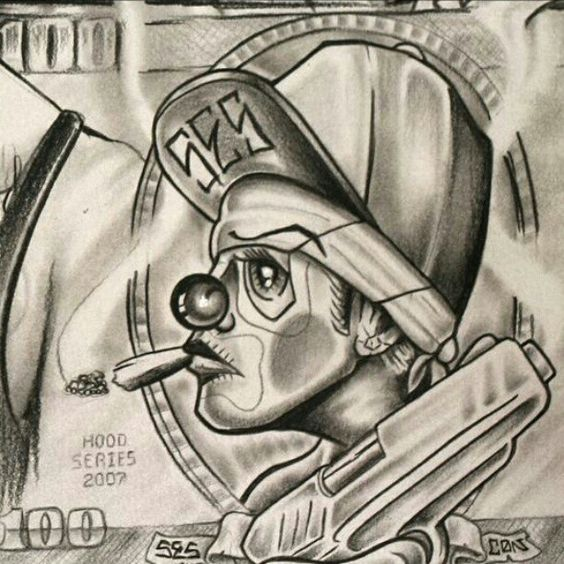 Images > Evil Gangster Clown Drawings | Lowrider Art ...