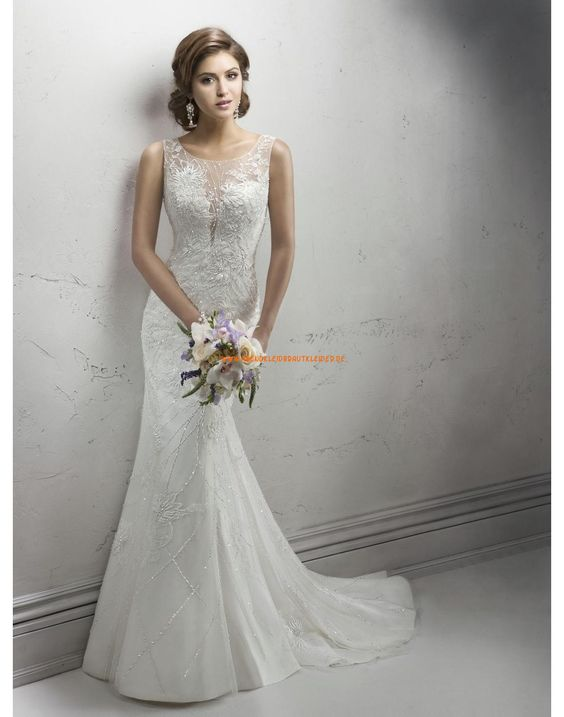 Sottero & Midgley Meerjungfrau Trendige Moderne Brautkleider aus Softnetz mit Applikation