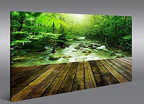 islandburner Bild Bilder auf Leinwand Steg im Wald Natur Landschaft