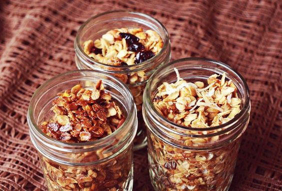 Basic Granola: 2 cups oats (old fashioned), 1 1/2 cups nuts/seeds of your choice, 1/3 cup oil (olive oil), 1 tsp. salt, 1/4 tsp. cinnamon, a pinch of nutmeg, a pinch of ginger, 1/3 cup honey or maple syrup, 1/2 teaspoon vanilla extract and 1/4 cup dried fruit.