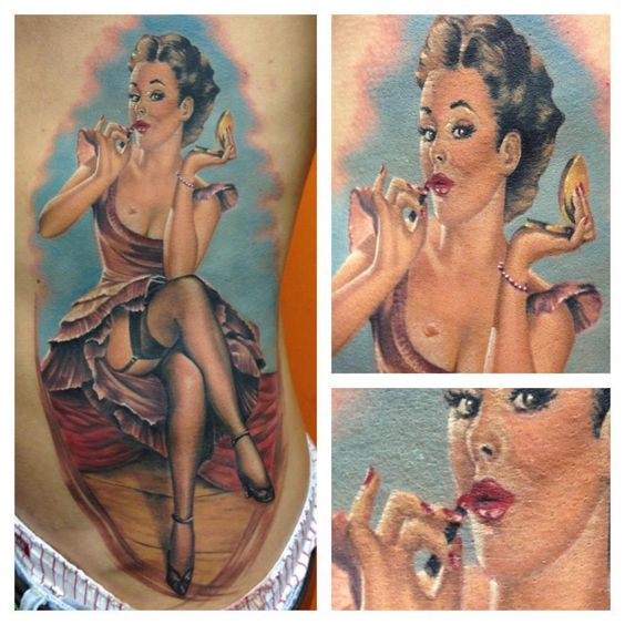 Vintage Red Lipstick Pin Up Tattoo - Randy Engelhard http://pinupgirlstattoos.com/vintage-red-lipstick-pin-up-tattoo/