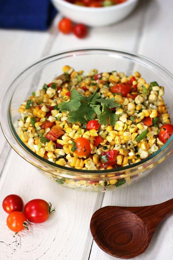 Grilled Corn #Salad with Cilantro-Honey-Lime-Vinaigrette#Recipe