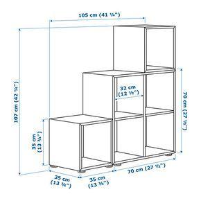 Eket Storage Combination With Feet White Dark Gray Light Gray 413 8x133 4x421 8 Ikea Diseno De Estanteria Muebles Para Libros Mueble Cubos