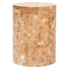to go between the two chairs as a accent table  Safavieh Fiona Stool - Teak