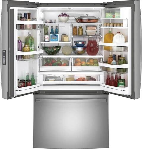 Ge Profile Series Energy Star 23 1 Cu Ft Counter Depth Fingerprint Resistant French Door Refrigerator Stainless Steel Pwe23kynfs In 2020 Best French Door Refrigerator Buying Kitchen Appliances Counter Depth French Door