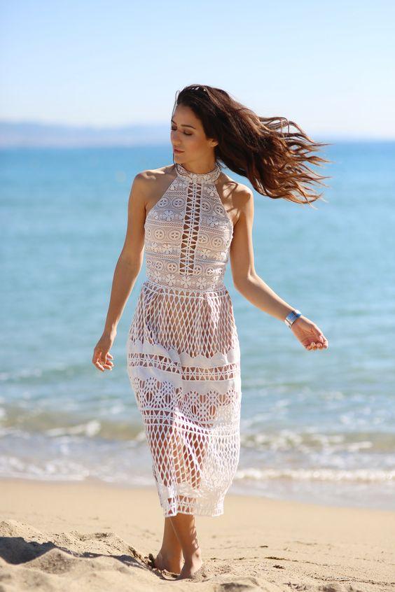 Wearing the perfect white midi dress