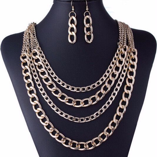 Chain Tassel Necklace and Chain Earring Set - Golden