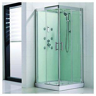 Sensi dacqua cabina ducha cuadrada verde con luz y radio for Llaves para duchas sodimac
