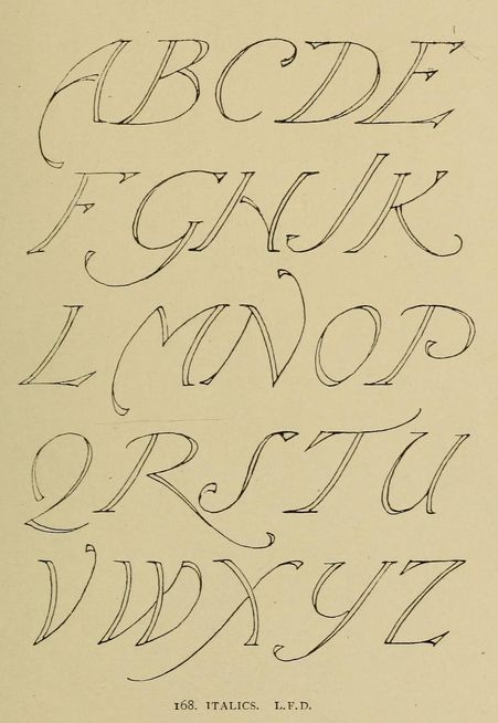 Modern Italics #alphabet, L.F.D. | Alphabets old and new, for the use of craftsmen (1910), Lewis Foreman Day