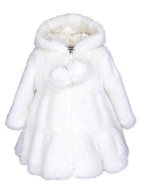 Widgeon Baby Girls Sparkle Trim Hooded Faux Fur Jacket