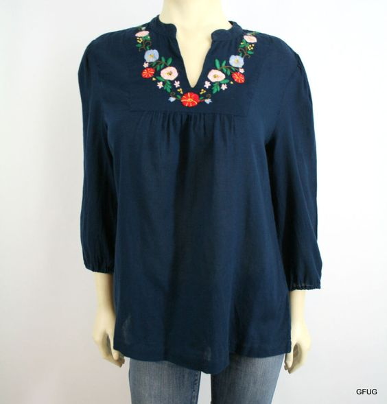 LUCKY BRAND L Navy Blue Cotton Floral Embroidered Boho Peasant Tunic Blouse Top #LuckyBrand #Tunic #Casual
