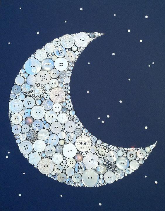 "11""x14"" Crescent Moon and Stars Buttons Brads Custom Wall Art. $124.00, via Etsy."
