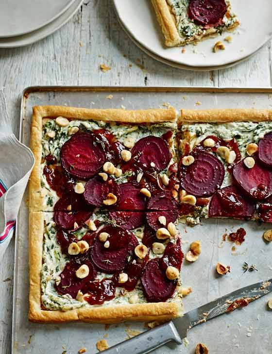 Beetroot, goats' cheese and hazelnut tart http://www.sainsburysmagazine.co.uk/recipes/mains/veggie-2/item/beetroot-goats-cheese-and-hazelnut-tart
