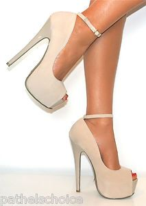 Details about LADIES NUDE PEEP TOE ANKLE STRAP PLATFORM HIGH
