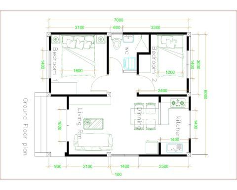 House Design 6x7 With 2 Bedrooms House Plans 3d Simple House Plans Tiny House Layout Simple House Design